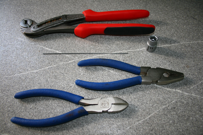 verwendet Materialien und verwendetes Werkzeug